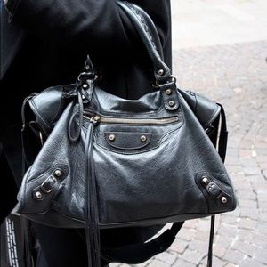 Balenciaga Anthracite Leather Motorcycle City Bag